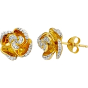 Disney Enchanted 1/5 CTW Belle Earrings with 10K Yellow Plating