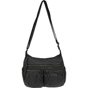 Bueno of California Elephant Washed Pleated Pocket Crossbody Handbag
