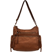 Bueno of California Pearl Washed Crossbody Hobo Handbag