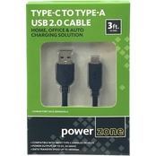 Powerzone USB C TO USB A 2.0 Cable 3 ft.