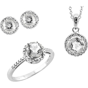 Sterling Silver White Topaz Round Pendant/Ring/Earrings Set, Size 7, 18 in.