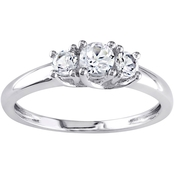 Sofia B. 10K White Gold 5/8 CTW Created White Sapphire 3-Stone Engagement Ring