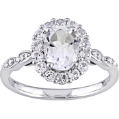 Sofia B. 14K White Gold 2 CTW White Topaz and Diamond-Accent Halo Vintage Ring