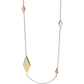 Fossil Tri-Tone Diamond-Shaped Necklace