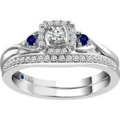 Traditions in Blue 10K White Gold 1/4 CTW Diamond Accent Bridal Set, Size 7