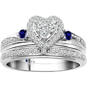 Traditions in Blue 10K White Gold 1/3 CTW Diamond Accent Bridal Set, Size 7