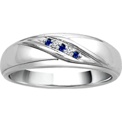 Traditions in Blue 10K Diamond Accent Gentleman's Band, Size 10