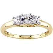 Sofia B. 10K Yellow Gold Lab Created White Sapphire 3 Stone Engagement Ring