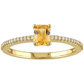 Sofia B. 14K Yellow Gold Yellow Sapphire and 1/10 CTW Diamond Ring