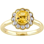 Sofia B. 10K Two Tone Gold Citrine Flower Halo Birthstone Ring