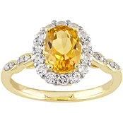 Sofia B. 14K Yellow Gold Citrine and White Topaz and Diamond Accent Halo Ring