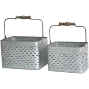 Simply Perfect Rustic Galvanized Metal Basket Two Pc. Set