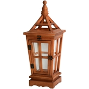 Simply Perfect Cozy Rustic Wood and Glass Lantern