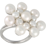 Sterling Silver Rhodium Plated Ring With 4-5-6-7mm Button Shaped White Pearls