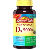 Nature Made Vitamin D3 5000iu Max Potency Capsules 180 ct.