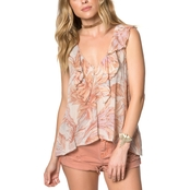 O'Neill Juniors Isa Woven Floral Print Tank Top