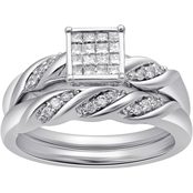 10K White Gold 1/3 CTW Diamond Bridal Set, Size 7