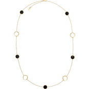 Michael Kors Cool and Classic 34 In. Goldtone and Black Agate Necklace