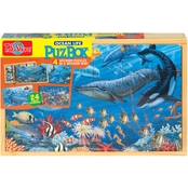T.S. Shure Ocean Life Large Puzzles in a Wooden Box, 4 Puzzles