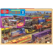 T.S. Shure Trains Jumbo Wooden Puzzles in a Wooden Box, 2 Puzzles