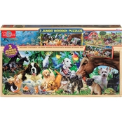 T.S. Shure 3 Animal Jumbo Wooden Puzzles in a Wood Box