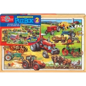 T.S. Shure Two American Tractors Jumbo Wooden Puzzles in a Wooden Box