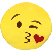 I Luv Emoji Large Pillow, Face Throwing a Kiss