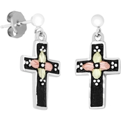 Landstrom's Black Hills Gold Sterling Silver Antique Cross Earrings