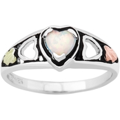 Landstrom's Black Hills Gold Sterling Silver Lab Created Opal Heart Ring