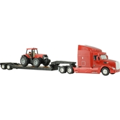 Big Farm 1:32 Peterbilt Model 579 Semi with Lowboy & Case IH Tractor Backhoe Loader