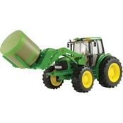 TOMY 1:16 Scale Big Farm John Deere 7330 with Front Bale Mover and Bale