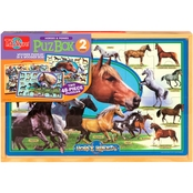 T.S. Shure Horse Breeds Horses and Ponies Large Puzzles in a Wooden Box, 2 Puzzles