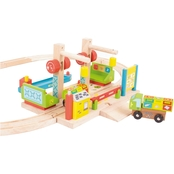 BigJigs Toys Dockside Recycling Center Wooden Train Accessory