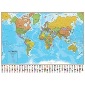 Round World Products Hemispheres Blue Ocean Series World Wall Map 38 in. x 51 in.