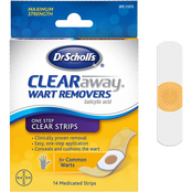 Dr. Scholl's Clear Away One Step Wart Remover Invisable Strip, 14 Strips