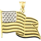 10K Yellow Gold US Flag Charm