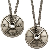 Shields of Strength Men's Antique Finish Necklace - Phil 4:13