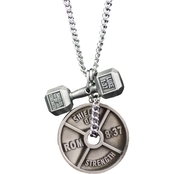 Shields of Strength Men's Antique Finish Combo Necklace - Luke 1:37/Romans 8:37