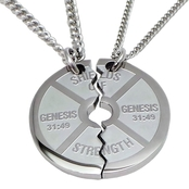 Shields of Strength Stainless Steel Large Split Weight Necklace Genesis 31:49