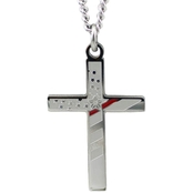 Shields of Strength Men's Stainless Flag Cross Thin Red Line Necklace Isaiah 6:9