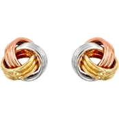 14K Gold Three Tone Love Knot Post Earrings