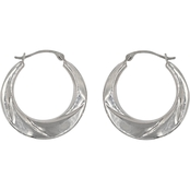 14K White Gold Round Wavy Back to Back Hoops