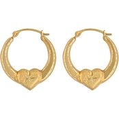14K Yellow Gold Heart Back to Back Hoops