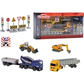 Dickie Toys Majorette Construction Theme Playset with 5 Vehicles
