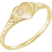 Karat Kids 14K Yellow Gold Diamond Accent Heart Ring, Size 3