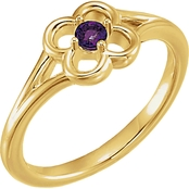 Karat Kids 14K Yellow Gold Amethyst Flower Youth Ring, Size 3