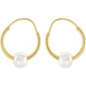 Karat Kids 14K Yellow Gold Pearl Youth Hoop Earrings