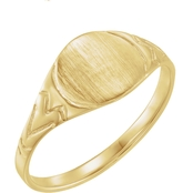 Karat Kids 14K Yellow Gold Youth Signet Ring, Size 3