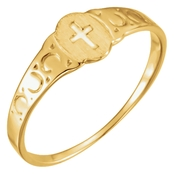 Karat Kids 14K Yellow Gold Youth Signet Cross Ring, Size 3