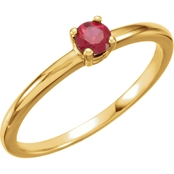 Karat Kids 14K Yellow Gold Imitation Ruby Birthstone Ring, Size 3